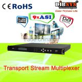 2015 hot sale digital tv multiplexer dvb multiplexer with 9 ASI in