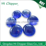Blue colored flat back glass beads for fire pit decoration