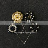 High Quality Black Rhinestone Flower Lapel Pins For Wedding Decoration,Garment Accessories Brooch Pin For Blazer
