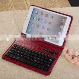 2013 crocodile pattern for ipad bluetooth keyboard with leather case for ipad2