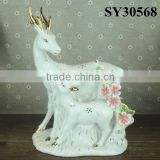 New year colorful white porcelain animal ceramic decorations