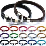 Wholesale Newest Men/Women's Leather Bangle Wrap Wristband Cuff Punk Rock Clasp Bracelet