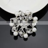 2015 Fashion Hot style Chic elagant jewelry Fashion brooch simple brooch silver snowflake pearl crystal rhinestone brooch pin