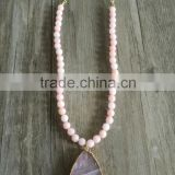 Natural Pink Quartz Stone Pendant Necklace, Stone Edge Gold Foiled Pendant Necklace
