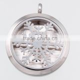 2016 New Arrival 316L Stainless Steel Snowflake Aromatherapy Essential Oils Diffuser Locket Necklace Pendant