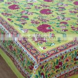 Flower Blossom Canary Cotton Hand Block Printed tablecloth