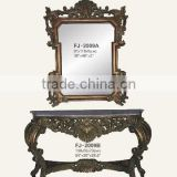 2009 antique finished wooden carved console table with marble and mirror