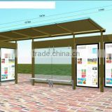 Extrusion Aluminum Outdoor Bus Transit Shelter with Powder Coating Outside with Advertising panels