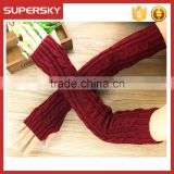 V-414 women fashion cable knit plain simple fingerless mittens gloves long knit arm warmer