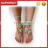 V-998 rainbow crochet barefoot sandals beach wedding barefoot sandals cotton crochet anklets foot jewelry with toe ring