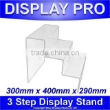 3 STEP ACRYLIC COUNTER DISPLAY STANDS JEWELLERY RETAIL SHOP RISER PLINTHS LARGE