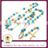 Hot Sell Stainless Steel Religious 8MM Turquoise Rosary Beads Necklace With Virgin Mary & Jesus Crist Crucifix Cross Pendant