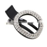 Girls Rhinestone Hair Accessories Shiny High Quality Black Plastic Crystal Round Oval Hairpin Hair Clip For women Headwear