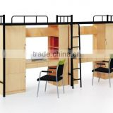 Dormitory furniture metal bunck bed with desk and wardrobe