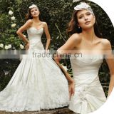 W219 beautiful Mermaid Wedding Dress with Drapped Waist Satin Bridal gown 2016 Ivory wedding dress