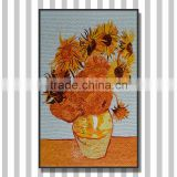 JY-JH-VG02 Foshan handmade mosaic art Wall decorate glass mural Beautiful sunflower pattern tiles