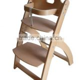 Natural Color Solid Beech Wooden baby high chair
