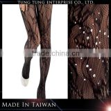 Hot fix rhinestones morning glory pattern sex tube pantyhose