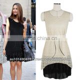 LACE FABRIC WITH NETTING AND CHINFFON BLACK LADY DRESS 584