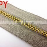 Hot Sale! High quality 3# Y Teeth Brass Metal Zipper Long Chain