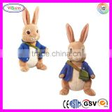 D683 Blue Jacket Rabbit Stuffed Soft Animal Plush Talking Rabbit Toy
