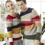 casual universal sweater round neck cashmere silk western style pullover sweater design for couple 2015