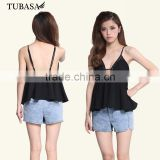guangzhou ladies clothing black box pleat peplum top black, blusa cropped, clothes online