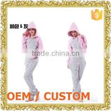 Customized zip jumper suit romper with hood maxi jumper dress beautiful lady one-piece dress