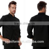 Guangzhou Uniforms Manufacturer New Design Black Cotton Fabric Unisex Chef cook uniform kitchener uniforms