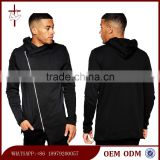 2015 Fashion Men's Hoodies Asymmetric Zip Longline Hoodies