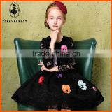 latest design dress baby girls girls high-end lace kids clothese embroidered and printing party dress