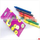 Eco friendly kids safe school wax crayon for wholesale in color box