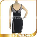 2014 newest sleeveless black net bandage dress sexy vinyl dress