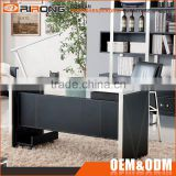 Luxury modern glass top office table design black leather veneer stainless steel frame executive office table and desk