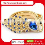 alibaba china blue sapphire feather peacock charm waist chain gold jewelry online