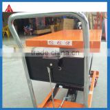 Custom-made!2Tons manual small DC battery hydraulic scissor lift platform for delivery of goods