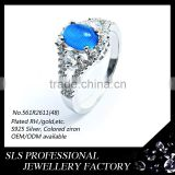 925 sterling silver jewelry wholesale rhodium plated ladies rings silver light blue opal rings