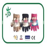 kids touching screen wet chenille warmer knitted glove winter glove with animal
