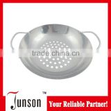 Stainless Steel Frying Pan with Holders/Cheap Fryer with Holes/Stainless Steel Grill Frying Pan