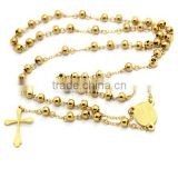 Latest Hot Sale Design Stainless Steel Gold Beaded Pendant Fashion Jewelry Necklace with Crucifix Cross