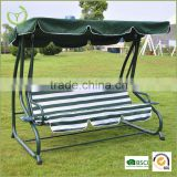 3 seat steel green leisure swing chair with canopy, canopy leisure waing, outdoor leisure swing