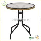 Round glass top table -coffee shop &restaurant table use/glass dining table/cafe furniture