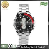 Rotation bezel fashion 316L stainless steel bracelet wrist watch for men