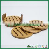anti heat round bamboo trivet plate mat set with holder                                                                         Quality Choice