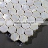 Glass fiber base hexagon pure white river shell mosaic tiles with slugged bottom