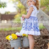 new brand white ruffle skirts sleeveless blue floral pattern infant girls summer dress boutique outfits