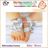 Newest plain white sandals flower baby shoes
