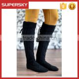 C05-1 Black thick cable knit knee boot socks with fold over cuff Women Knitted Thigh High Leg Warmers Knitting Boot Socks