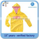 Cheapest Kid's Embroidery Yellow Hoodie Supplier with BSCI certification yellow zip up hoodiebrushed fleece hoody