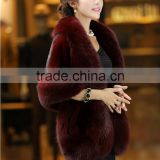 Genuine Red Color Mink Fur Cape / Fur Shawl With Fox Fur Trimming